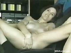 Classic beauty masturbating and sucking
