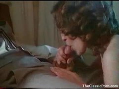 Curly hair girl laid in sexy retro movie