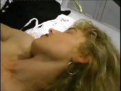 Horny blond MILF gets a hardcore pile driver fucking in her pussy